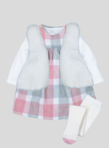 Multicoloured Check Pinny Body Gilet & Tight Set (0-24 Months)