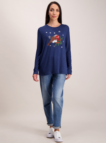 Navy Christmas Robin Knit Look Top