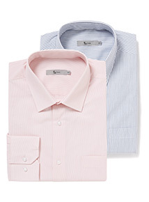 Navy and Pink Stripe Tailored Fit 2 Pack Easy Iron Shirts