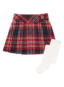 Girls Red Pleated Checked Skirt (9 months-5 years)