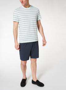 Green Stripe T-shirt and Short Pyjama Set