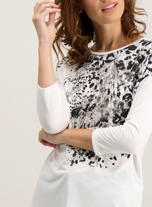 White Leopard Graphic Top