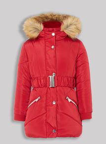 Red Puffa Coat (3-16 years)