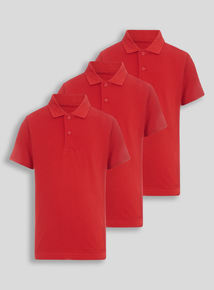 Unisex Red Polo Shirts 3 Pack (3-12 years)