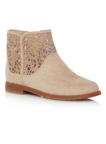 Girls Taupe Lace Ankle Boots