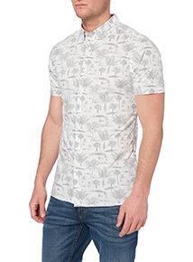 White Palm Pattern Shirt