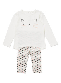 White Cat Tee and Leggings Set (0-24 months)