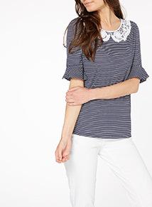 Navy Stripe Collar Top