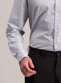 Grey Stripe & Floral Print Slim Fit Shirts 2 Pack
