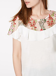 Embroidered Yolk Frill Blouse