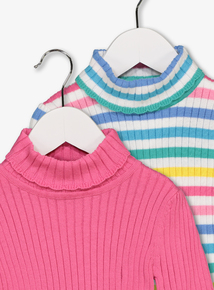 Multicoloured Ribbed Roll Neck Tops 2 Pack (9 Months - 6 Years)