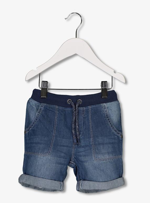 2c8516b67d Baby Blue Denim Rib Waist Shorts (1-6 years)   Tu clothing