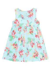 Blue Floral Tropical Jersey Dress (9 months - 6 years)