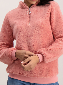 Dusky Pink Fluffy Half Zip Fleece