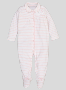 Pink Striped Cloud Velour All In One (Newborn -24 Months)
