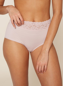 5 Pack Pink Comfort Rose Lace Top Full Brief