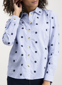 Blue Striped Spot Embroidery Shirt