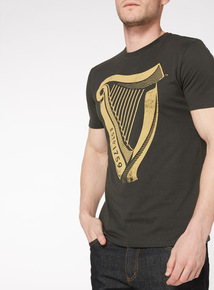 Black Guinness Harp Print Washed T-Shirt