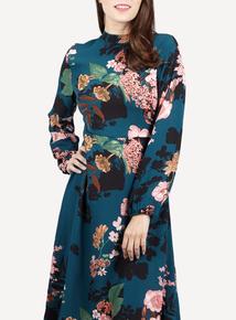 IZABEL Teal Floral Print Midi Dress