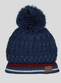 Blue Cable Knit Pom-PomBeanie Hat (3-13 Years)