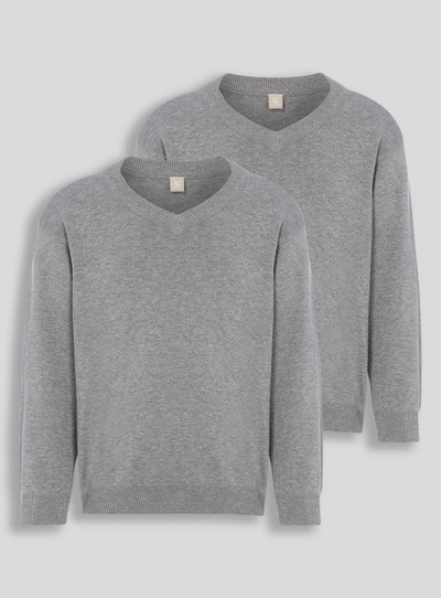 Grey V-Neck Jumpers 2 Pack (3-16 years)