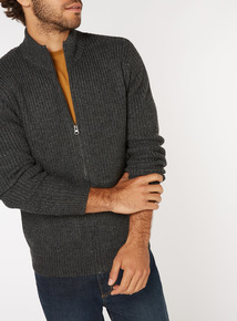 Charcoal Zip Through Funnel Neck Jumper