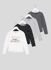 Multicoloured Queen Bee Long Sleeved Tops 4 Pack (3-14 Years)