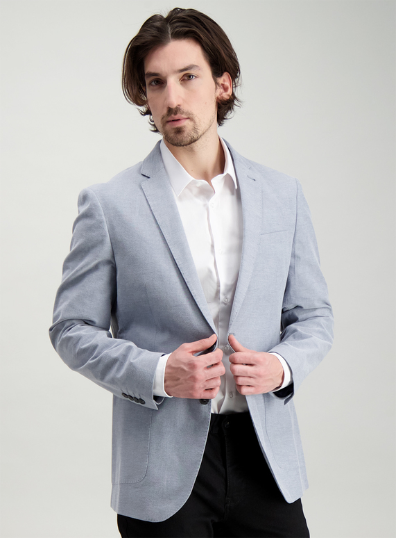 Online Exclusive Blue Chambray Suit Slim Fit Jacket