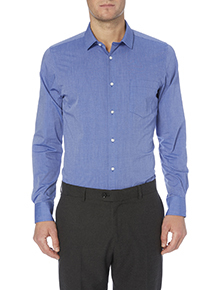 Blue Easy Iron Tailored Shirts 2 Pack