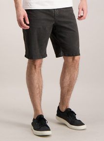 Charcoal Grey Denim Straight Fit Stretch Shorts