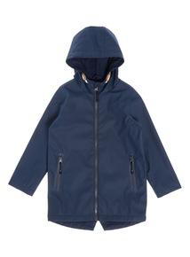 Boys Navy Fleece Lined Shower Resistant Jacket (3 - 14 Years)
