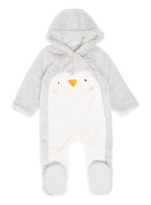 Grey Penguin Pramsuit (0-12 months)
