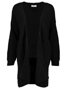 Online Exclusive PETITE Black Cable Knit Coatigan