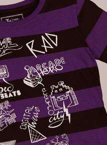 Purple & Black Retro Slogan Short-Sleeved T-Shirt (3-14 Years)