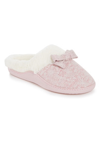 Pink Textured Print Mule Slippers