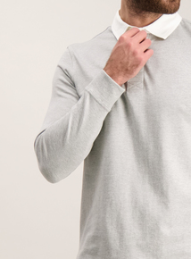 Online Exclusive Grey Rugby Long-Sleeved Top