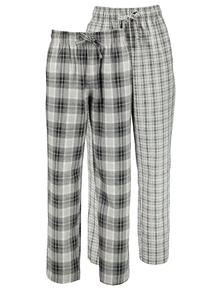 Black & Grey Check Woven Pyjama Bottoms 2 Pack