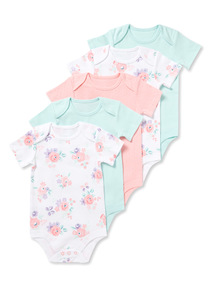5 Pack Multicoloured Short Sleeve Bodysuits (0-24 months)