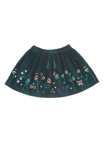 Green Corduroy Floral Skirt (3-14 years)