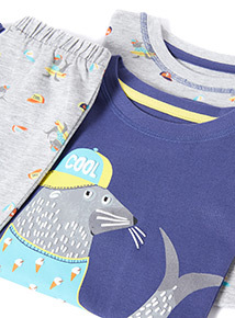 2 Pack Multicoloured Seal Print Pyjama Set (1-6 years)