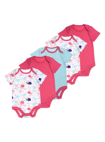 Girls Pink Whale Bodysuit 5 Pack (0-24 months)