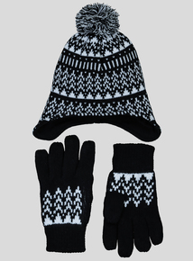 Monochrome Trapper Hat & Gloves (1-13 Years)