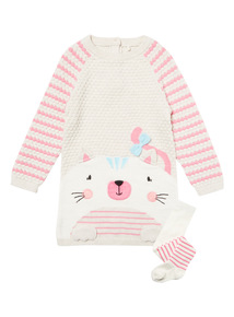 Oatmeal Knitted Cat Dress and Tights (0-24 months)