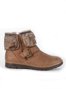 Sole Comfort Brown Fur Zip Ankle Boot