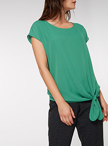 Green Tie Front Shell Top