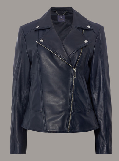 Premium Navy Leather Biker Jacket