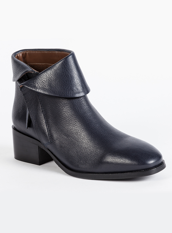 Womens Premium Navy Blue Leather Ankle Boots  0043d3a37