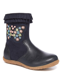 Navy Floral Embroidered Butterfly Boots