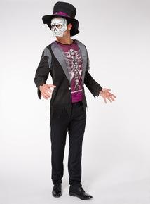 Adults Black Halloween Skeleton Tuxedo