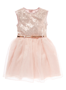 Girls Pink Sequin Dress (3-12 years)
